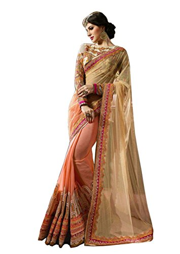 Bollywood Craze Peach Color Georgette & Met & Banglori silk Fabric Embroidery...