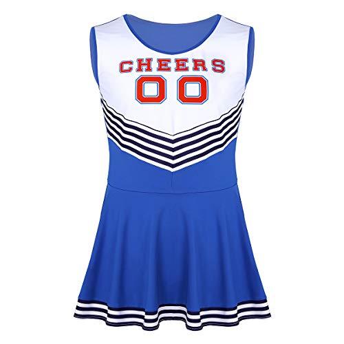 Alvivi Cheerlead Herren Kostüm Blau/Rosa Cosplay Cheer Kleid Trikot Sport Tanz Kleider Männer Performance Karneval Verkleidung Blau X-Large (Sport Kostüm Für Herren)