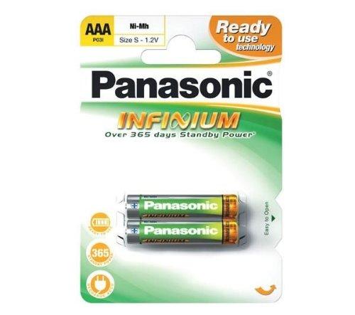 Panasonic Infinium P03I NiMH (2 pack) - Batería/Pila recargable (800 mAh, Níquel-Hidruro metálico (NiMH), 1,2V, 13g, 10,5 x 10,5 x 44,5 mm, AAA - S)