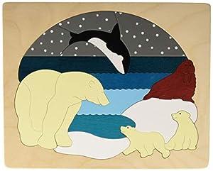 Hape- Puzzle encajable Infantil Capas Animales Ártico, Color Blanco, Azul (Barrutoys E6522)