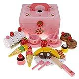 Fenteer Niedliches Nachmittagstee Schneiden Spielzeug mit Dessert Obst und Geschirr, aus Holz