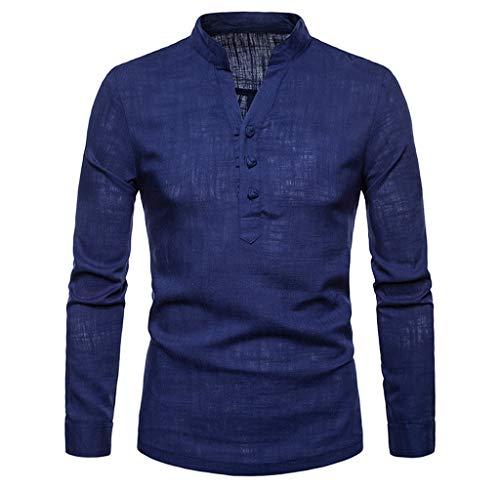 Luckycat Herren Langarm Herbst Winter Leinen Henry Large Size Casual Top Bluse Shirts Mode 2018