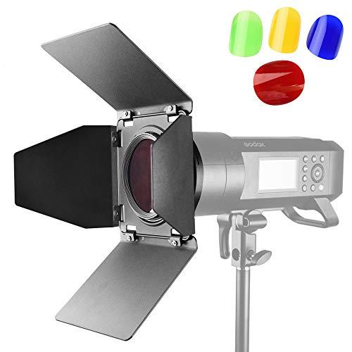 Godox BD-08 Barn Door für Godox AD400Pro All-in-One Blitzlicht Speedlite mit 4 Farbfiltern Pergear Tuch 1 Barndoor Kit
