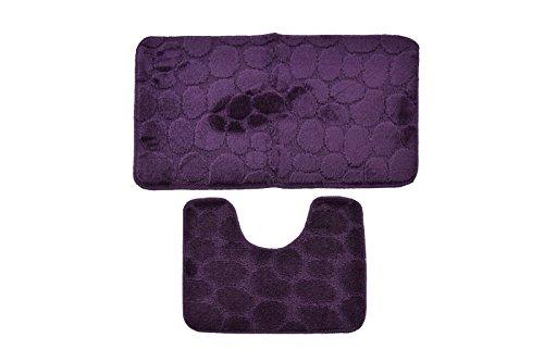 Badvorleger,Badematten, Badezimmermatten 2-teilig, Duschmatte, Badteppich 2er-Set lila 100% Polypropylen 3D-Stein-Motiv, 3D-Stein-Optik Waschmaschinen geeignet und antiallergisch