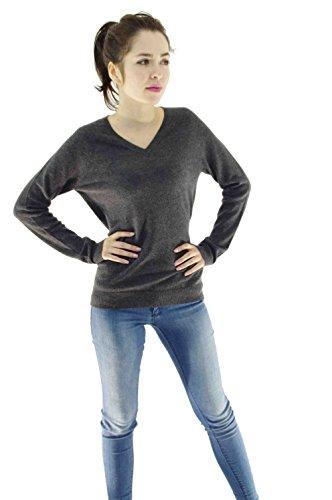 ZYPR Cashmere 100% Mongolei KASCHMIR Damen Pullover grau XX-Large 02-64 (Seide 100% Pullover)