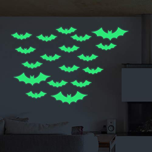 JUSTDOLIFE Halloween Wandaufkleber DIY Cartoon Bat Luminous Wall Decal Wanddekor Aufkleber