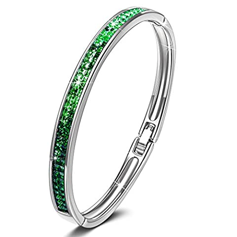 KATE LYNN Lifespring Bracelet Femme Cristal Vert de SWAROVSKI Bijoux Cadeaux Anniversaire Naissance Noël Saint Valentin Fête des Mères Maman et Fille Mariage Meilleure Amie Maitresse Soeur