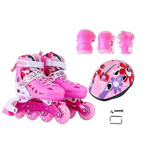 LCPG Skates Rollschuhe Stiefel Kinderrollen Outdoor Quad Roller Einstellbar Junior Junge Mädchen Inliner Rad Klingen Indoor Skate Stiefelabdeckungen Roller Boots (Farbe : Rosa, größe : L)