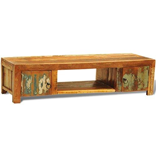 Mueble de televisión de madera reciclada con dos puertas de estilo vintage antiguo