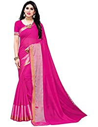 Anni Designer Women's Pink Color Cotton Silk Saree With Blouse Piece (VERA PINK_Free Size)