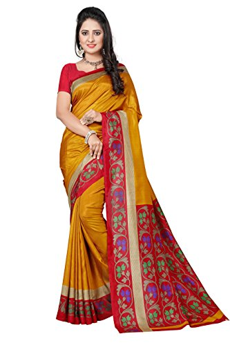 Vimla Novus Knitting Orange Zora Printed Art Silk Uniform Saree with Blouse (5691 A)