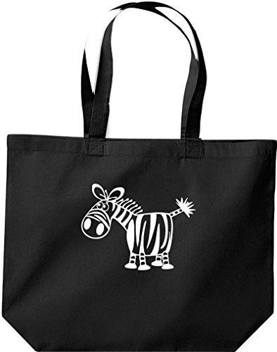 grande borsa della spesa, SHOPPER FUNNY ANIMALE ZEBRA Nero