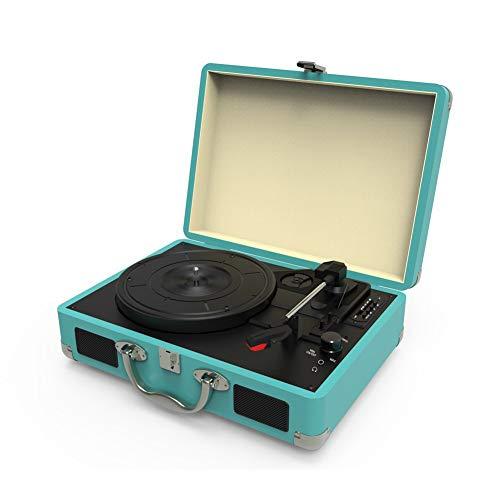 Starsou Platine Vinyle Tourne-Disques Valise Portable,Platine Vinyle Bluetooth 3 Vitesses pour disques vinyles avec Haut-parleurs,Compatible avec Les disques de diamètre 18/25 / 30cm,Bleu Clair