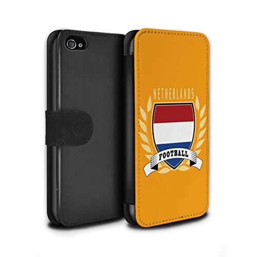 Stuff4 Coque/Etui/Housse Cuir PU Case/Cover pour Apple iPhone 4/4S / Allemagne/Allemand Design / Emblème Football Collection Pays-Bas
