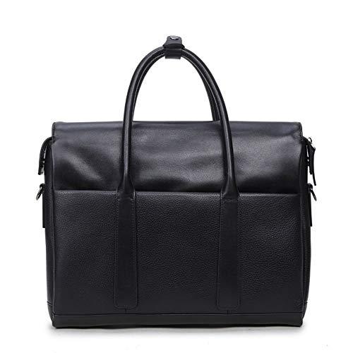 Yuany Laptop-Tasche 13,3 Zoll Leder Aktentasche Messenger Schultertasche Carry On Handle Case schwarz für Notebook MacBook für Geschäftsleute -