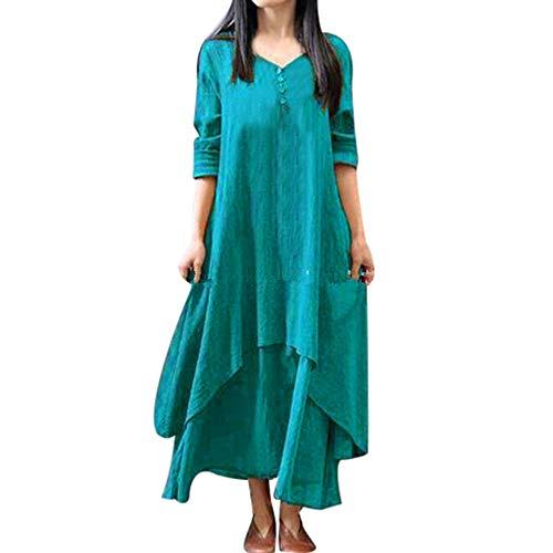 Damen Kleid Piebo Damen Beiläufige Lose Kleid Fest Langarm Boho Lang Maxi Kleid Retro Maxikleider Oversize S-5XL