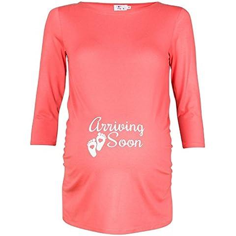 Happy Mama. Para Mujer Camisa Camiseta premamá Top estampado Mangas 3/4. 465p (Coral, EU 38)