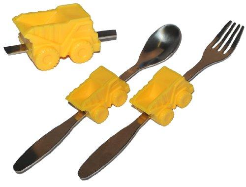 Unbekannt 2 TLG. Besteckset aus Edelstahl Gabel Löffel - mit Kipper / Auto - Besteck Kinderbesteck - Autos für Jungen Kinder