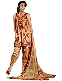 Jheenu Woman's cream Embroidered Georgette Unstiched Salwar suit dress materials