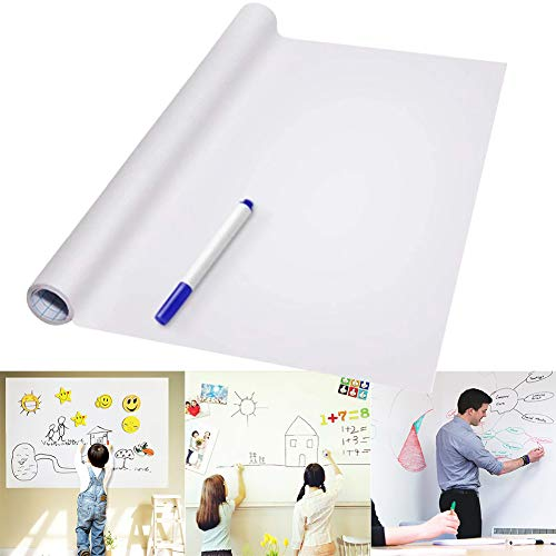 lzndeal Dry Erase Whiteboard Sticker Wall Decal Self-adhesive White Board Peel Stick Paper for School Office Home Kid Drawing PVC Back Sticky White Board Roll Up Reusable Message Board Remind Memo Pad