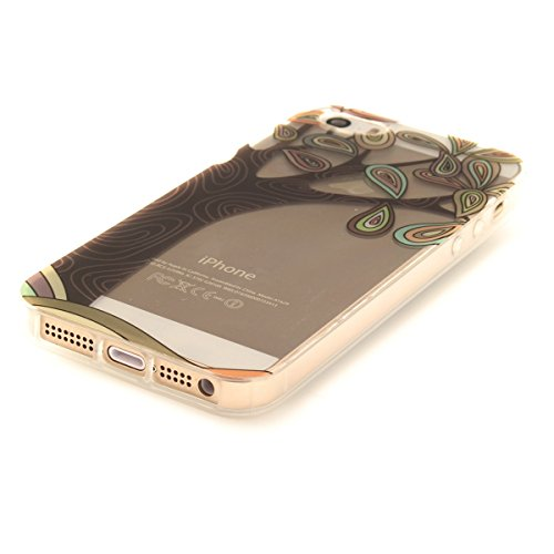 Felfy iphone 5S Silikone Case,iphone SE Hülle,iphone 5 Schutzhülle Ultra Dünnen Weiche Gel TPU Silikone Transparent Schutzhülle Bumper Case Handy Tasche Hülle für Apple iPhone SEE/5S/5 (Plum Blume) +  Handbemalt Baum