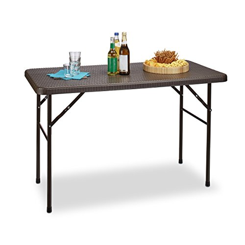 Relaxdays Gartentisch klappbar BASTIAN, rechteckig H x B x T: 74 x 121,5 x 61,5 cm, Metall, Kunststoff, Rattan-Optik, braun - Klapp-esstisch
