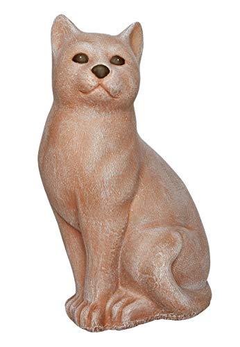 Tiefes Kunsthandwerk Steinfigur Katze sitzend in Terrakotta, wetterfeste Deko-Figur für Wohnung, Haus und Garten