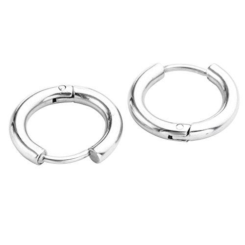 JSDDE Piercing Schmuck,2x Chirurgenstahl Creolen Ohrringe Hoop Ring Huggie Kreolen Ohrringe 8-16mm Silber (10mm)