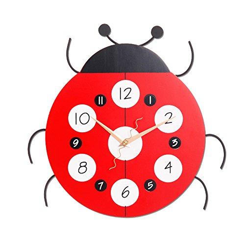 Preisvergleich Produktbild CFLOCK Wanduhr Uhr ohne Ticken Lautlos für Wohnzimmer Büro Schlafzimmer Badezimmer Kinderzimmer Mini AA Batterie Ø32 cm Großes Marienkäfer Moderne Reine Uhren [Enthält keine Batterie]