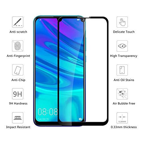 LOUQBH 2 Stück Full Cover Schutzglas für Huawei P Smart 2019 Bildschirmschutzfolie auf Huaweey P Smart Plus Vorderseite Sicherheitsglas Folie HD, weiß, für p smart