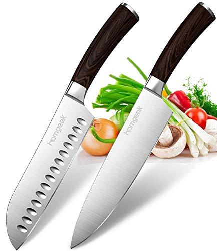 homgeek Coltello Santoku e coltelli da Cucina, Germania Manico in Acciaio Inossidabile ed ergonomico in Legno Pakka, Antibatterico, Resistente & Antiruggine