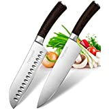 """Homgeek Kitchen Knives Set with 8"""" Chef Knife and 7"""" Santoku Knife, German High Carbon Stainless Steel, Anti-Corrosion and Anti-Tarnish Blade, 2 Piece Gift Set"""