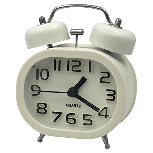 Coolzon® Analoge Wecker 3 Zoll Doppelglockenwecker Quarzwecker Kein Ticken Geräuschlos Wecker Laut Alarm Clock Batteriebetrieben Glockenwecker mit Nachtlicht (Weiß)