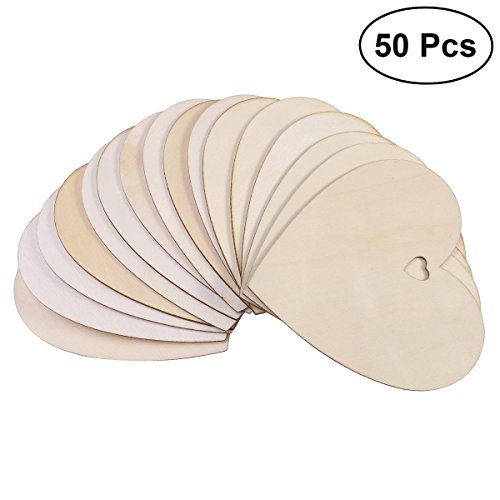 Pixnor, 50 placche decorative in legno a forma di cuore, etichette per fai da te, 100 mm, a tinta unita