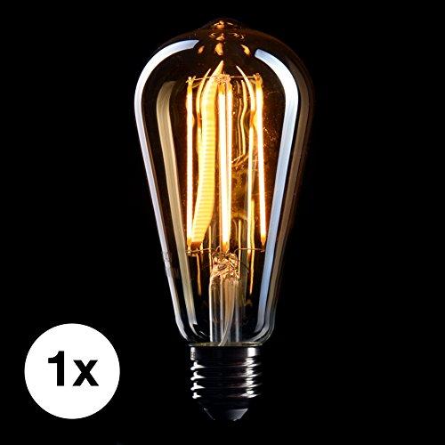 CROWN LED Edison Glühbirne E27 Fassung, Dimmbar, 5W, 2200K, Warmweiß, 230V, EL10, Antike Filament Beleuchtung im Retro Vintage Look