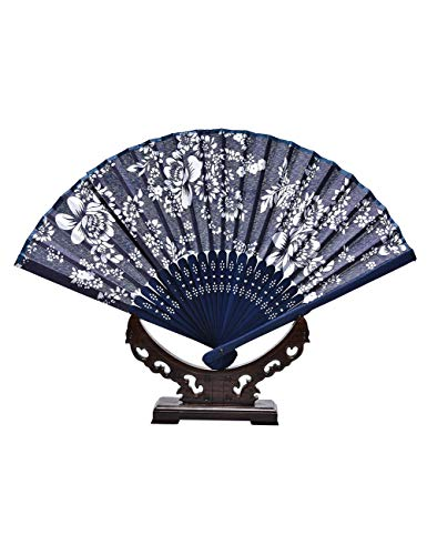 DSFH Fächer Faltfächer Faltfächer Floral Batik Chinesischen Stil Hand Halten Hochzeit Klassische Handwerk Orchidee Blume Druckt Tuch Fan -