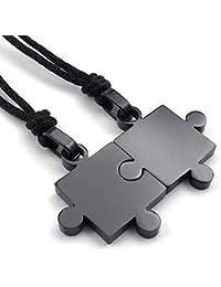 KONOV Schmuck 2 Freundschaftsketten Puzzle Edelstahl Partner-Anhänger mit Schwarz Seil Kette, Halskette für Damen & Herren, Schwarz