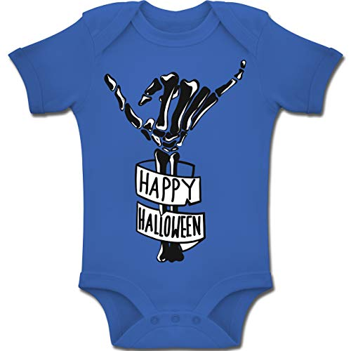 Shirtracer Anlässe Baby - Happy Halloween Skelett Hand - 6-12 Monate - Royalblau - BZ10 - Baby Body Kurzarm Jungen Mädchen