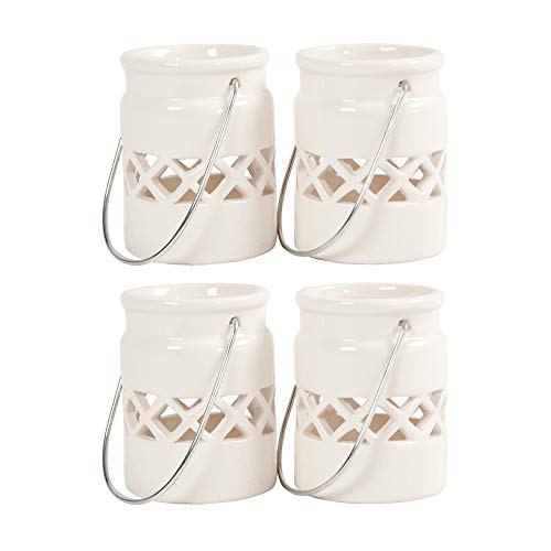 BODA Creative Laterne Mini aus glasiertem Porzellan mit abnehmbarem Metallbügel, weiß, D 6,2 cm, H 8 cm, 4 Stück, Teelichthalter Windlicht mit Henkel Kerzenhalter zum Aufhängen und Hinstellen