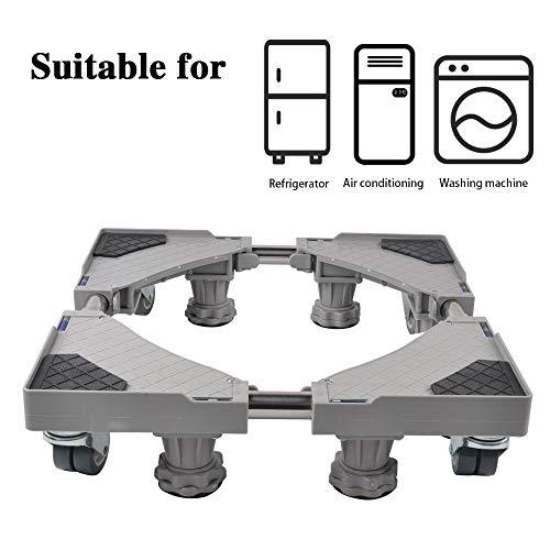 4' Base (Luckup Multifunktionale verstellbare Basis für Trockner, Waschmaschine und Kühlschrank, ZJ-HBK1, grau, 4 Feet + 4 Wheels)