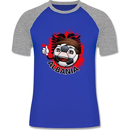 EM 2016 - Frankreich - Fußballjunge Albanien - zweifarbiges Baseballshirt für Männer Royalblau/Grau meliert