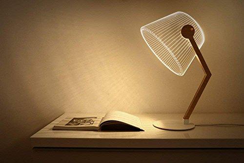 LED Lámpara de Mesa, 3D Lámpara de Lectura Luz de Atmósfera Iluminación de Noche Linterna Nocturna 5W con Carga USB 50000 Horas de Uso Largo de Acrílico y Madera para Dormitorio,Escritorio,Estudio,etc (Peter)