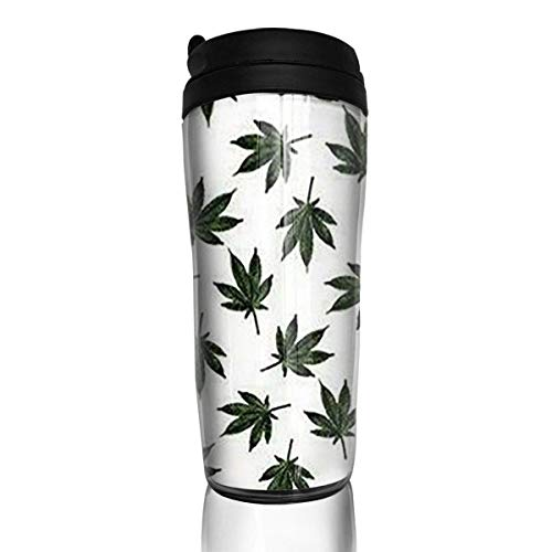 Travel Coffee Mug Weed Pattern 12 Oz Spill Proof Flip Lid Water Bottle Environmental Protection Material ABS