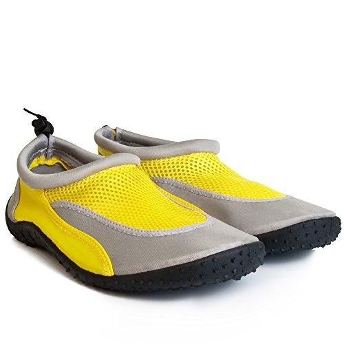 Badeschuhe Neoprenschuhe Wasserschuhe Surfschuhe Strandschuhe für Kinder, Damen und Herren von Gr. 28-46 - große Farbauswahl Gelb