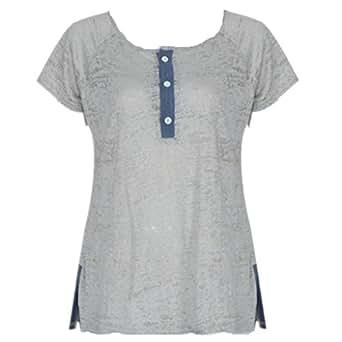 Bluester Women Loose Casual Button Blouse Short Sleeve T Shirt Tank Tops (s)
