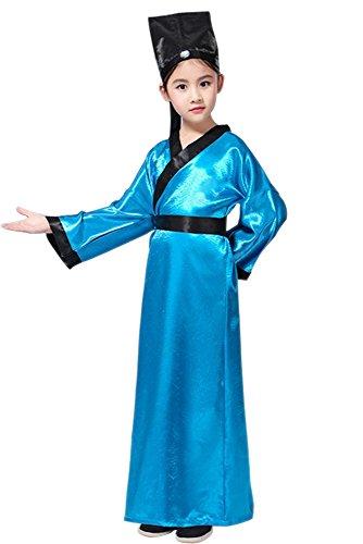 n & Mädchen Performance Kleidung, Konfuzius Kostüme, Hanfu, alte chinesische traditionelle Kostüme, Oberteile + Gürtel + Hut (Blau,EU 120 = Tag 130) (Chinesische Kostüme Für Jungen)