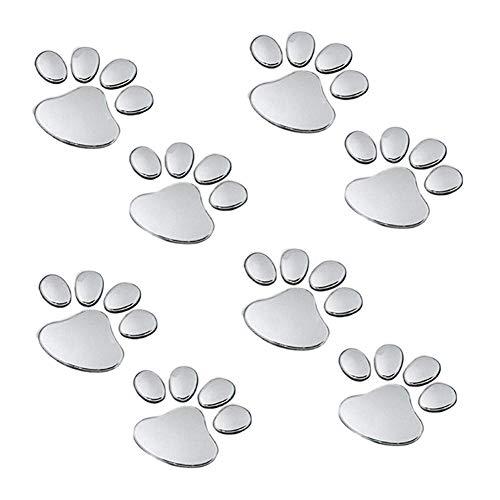 EQLEF 2 coppie Orso Cane Zampa Animal Footprint 3D Adesivi per auto Decorazione d'argento di colore