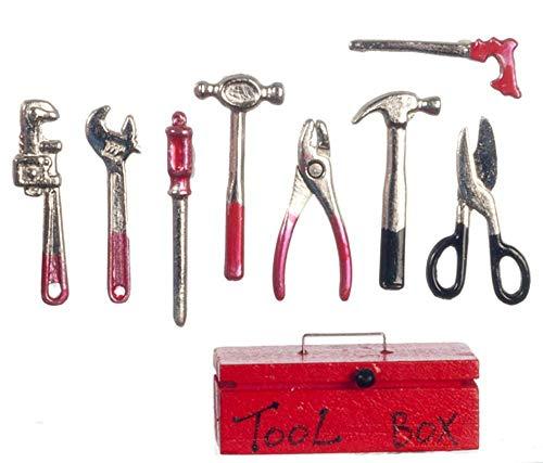 Melody Jane Puppenhaus Rot Werkzeugbox & Metall Werkzeug Miniatur Garten 1:12 Schuppen Arbeit Zubehör (Arbeit Schuppen)