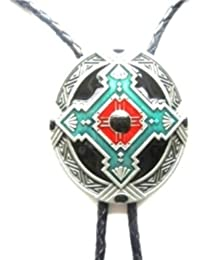 Bolo tie cravate western country metal Indian Symbol - Cordon cuir # WT026RD