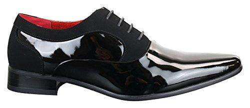 Chaussures à lacets vernies brillantes designer italien cuir daim habillées élégantes homme Noir
